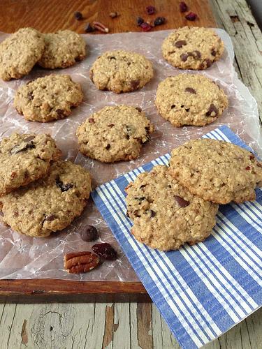 Cherry Chocolate Oatmeal Cookies via LizsHealthyTable.com