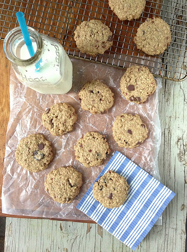 Cherry Chocolate Oatmeal Cookies via LizsHealthyTable.com