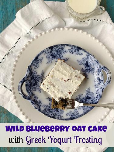 Wild Blueberry Oat Cake with Greek Yogurt Frosting via LizsHealthyTable.com