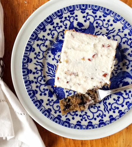Wild Blueberry Oat Cake with Greek Yogurt Frosting via LizsHealthyTable.com