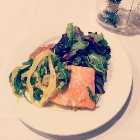 Slow Roasted Salmon with Toasted Barley and Fennel via LizsHealthyTable.com