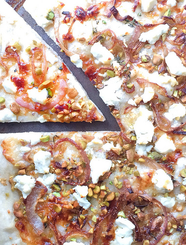 Goat Cheese Pistachio Pizza via LizsHealthyTable.com