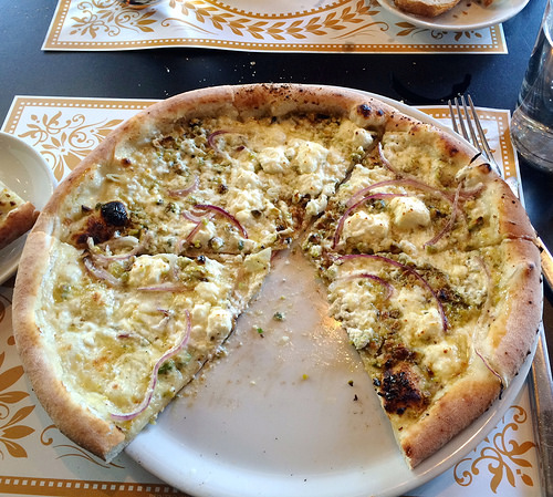 Goat Cheese Pistachio Pizza via LizsHealthyTable.com