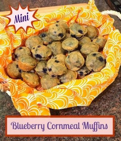 Mini Blueberry Cornmeal Muffins via LizsHealthyTable.com