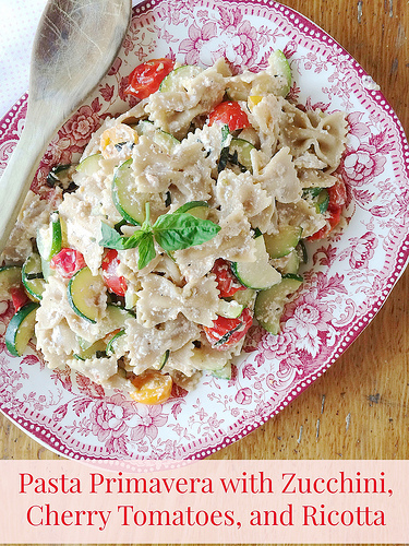 Pasta Primavera with Zucchini, Cherry Tomatoes, and Ricotta via LizsHealthyTable.com