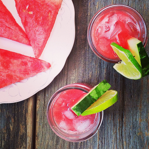 Watermelon Strawberry Punch via LizsHealthyTable.com