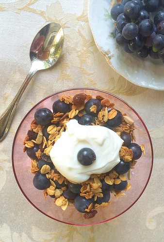 Yogurt, granola, Concord grape parfait via Lizshealthytable.com
