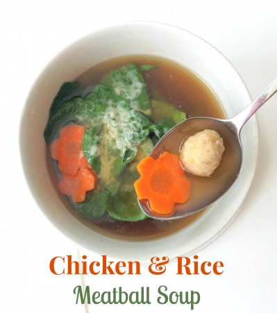 Easy Chicken & Rice Meatball Soup via LizsHealthyTable.com