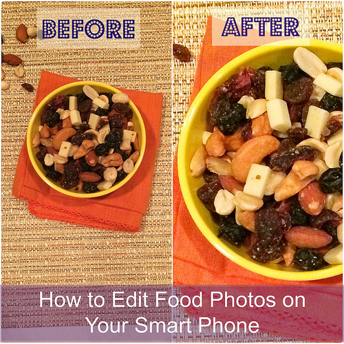 Trail mix image / before & after using Snapseed app via LizsHealthyTable.com