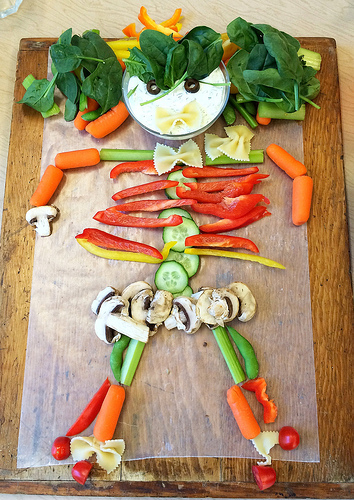 Rainbow Vegetable Dip + How to Make a Halloween Vegetable Skeleton via LizsHealthyTable.com