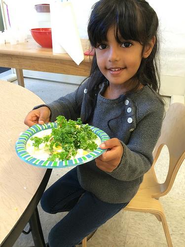 Kids eating kale salad via LizsHealthyTable.com