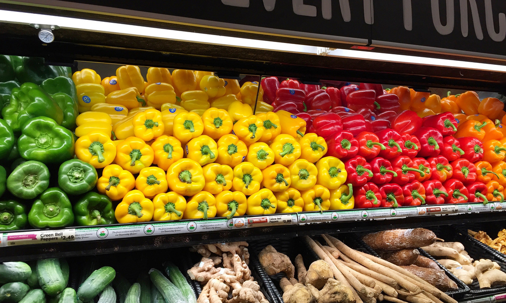 Colorful bell peppers via LizsHealthyTable.com