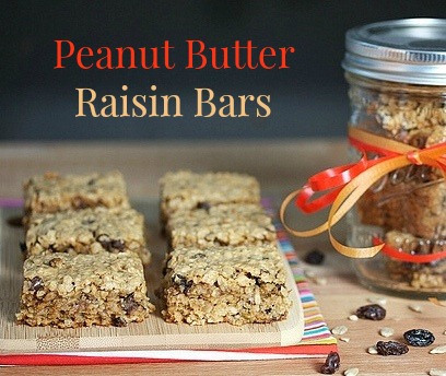 Peanut Butter Raisin Bars via LizsHealthyTable.com