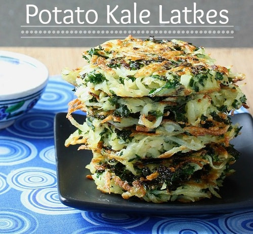 Potato Kale Latkes via LizsHealthyTable.com