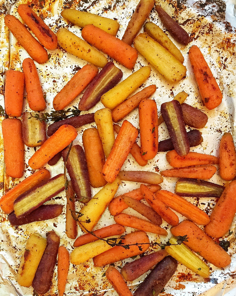 Honey-roasted rainbow carrots via LizsHealthyTable.com
