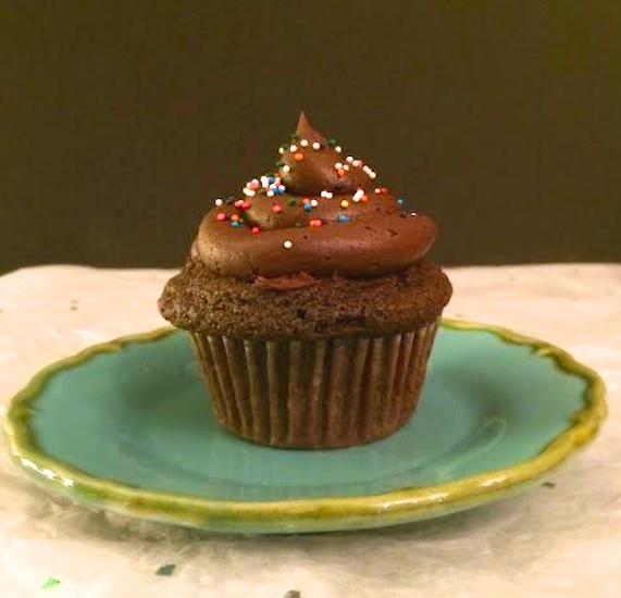 Gluten-Free Double Chocolate Cupcakes For 2 via LizsHealthyTable.com