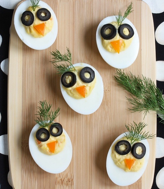 Chirp, Chirp Deviled Eggs via LizsHealthyTable.com