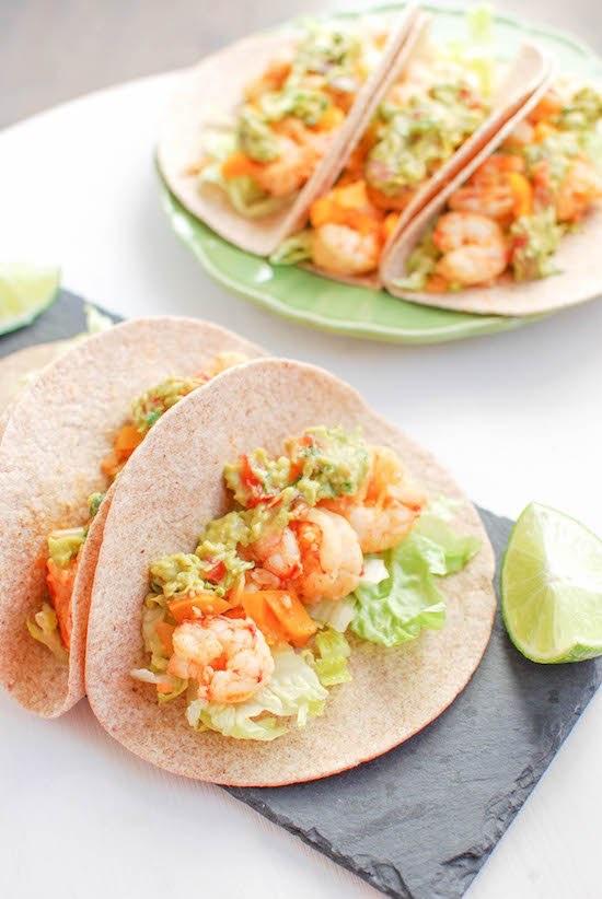 Spicy Shrimp Tacos via LizsHealthyTable.com