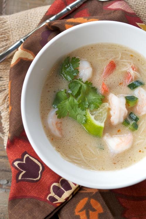 coconut noodle soup with shrimp via LizsHealthyTable.com