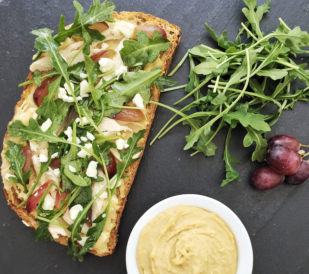Hummus, Chicken and Grape Tartines via LizsHealthyTable.com