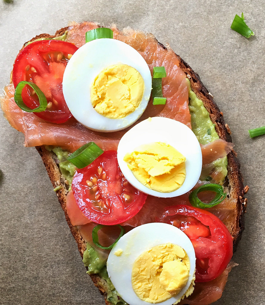 Avocado Toast with Smoked Salmon, Tomato, and Egg via LizsHealthyTable.com