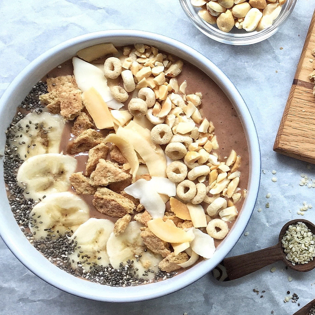 Peanut Butter and Banana Smoothie Bowls via LizsHealthyTable.com