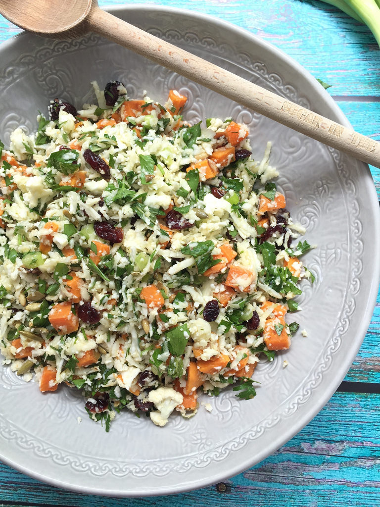 Sweet Potato and Cauliflower 'Rice' Tabbouleh via LizsHealthyTable.com