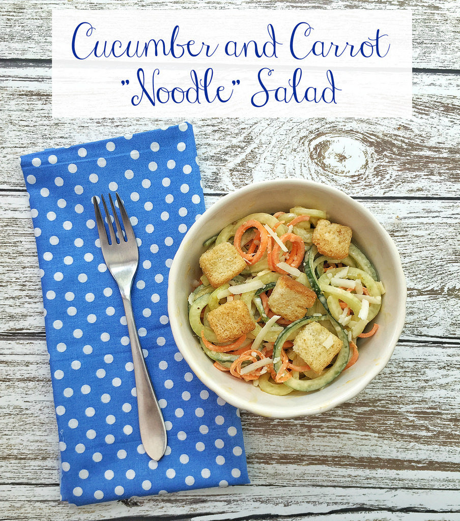 Spiralized Cucumber and Carrot Noodle Salad via LizsHealthyTable.com