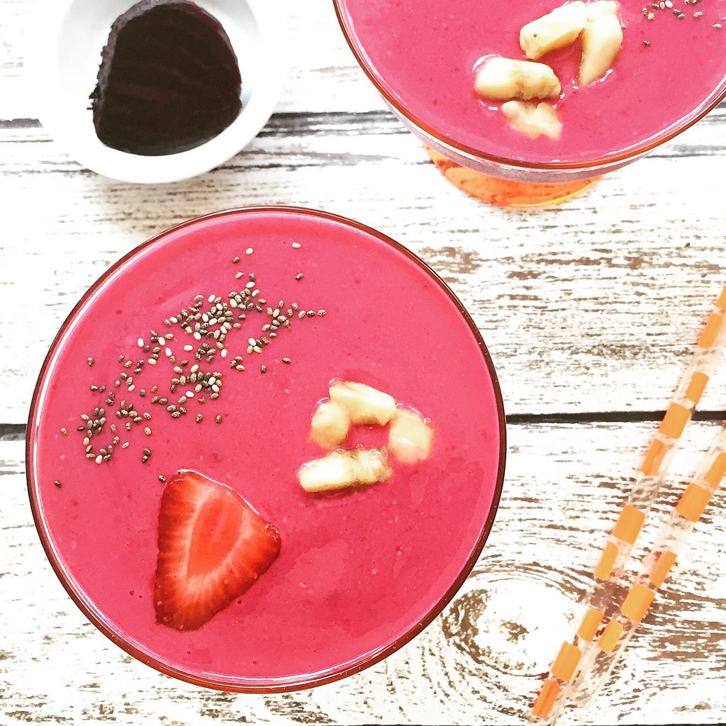 Sun-Kissed Strawberry Beet Smoothie via LizsHealthyTable.com