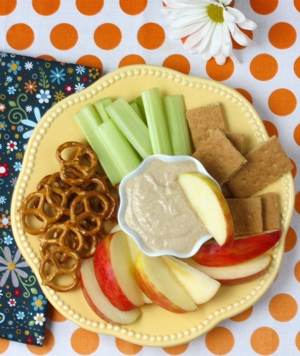 Peanut Butter Yogurt Banana Dip via LizsHealthyTable.com