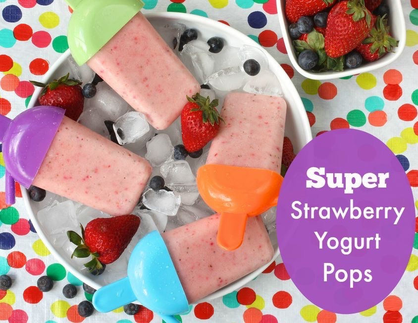 Super Strawberry Yogurt Pops via LizsHealthyTable.com