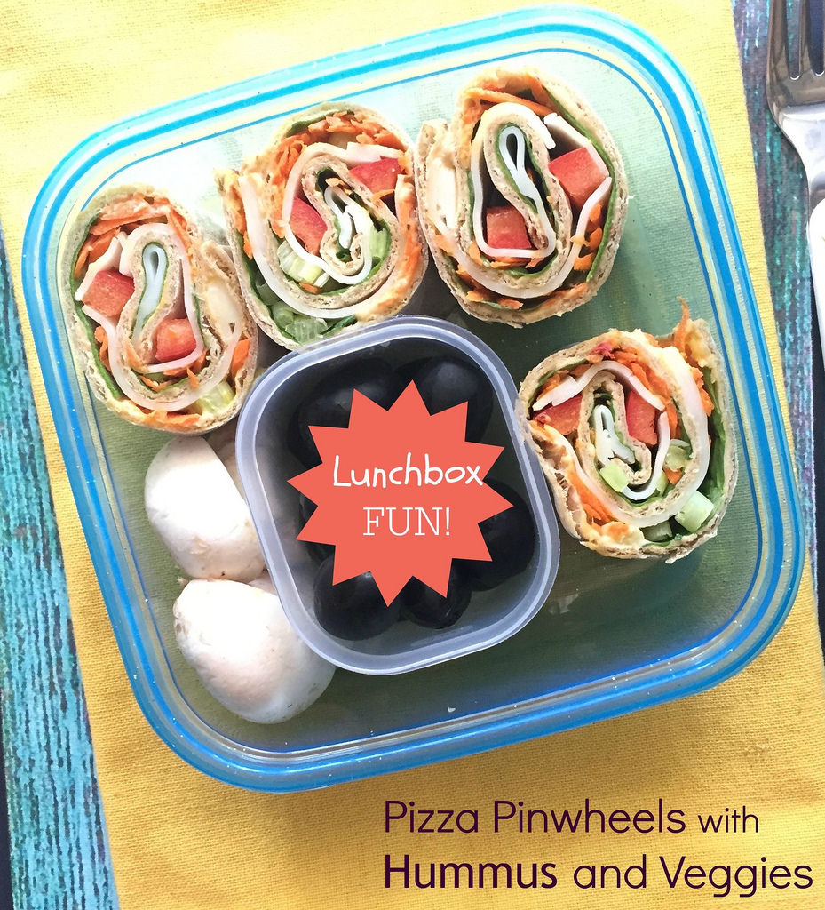 Pizza Pinwheels with Hummus and Veggies via LizsHealthyTable.com