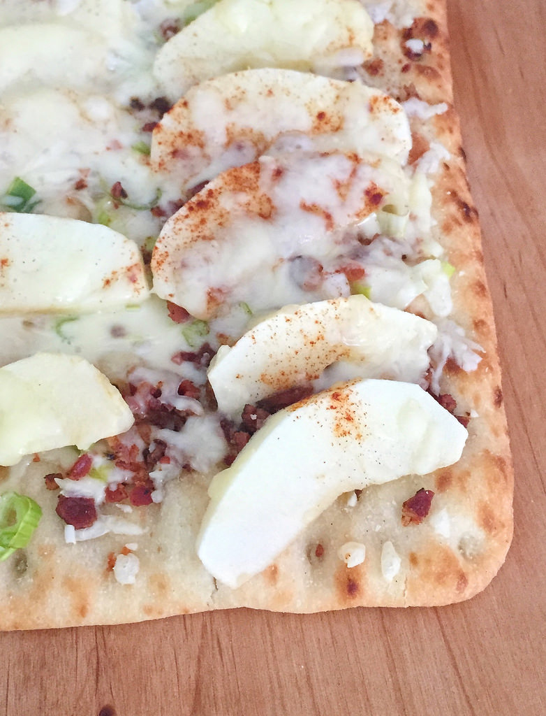 Apple, Bacon and Maple Syrup Flatbread Pizza via LizsHealthyTable.com