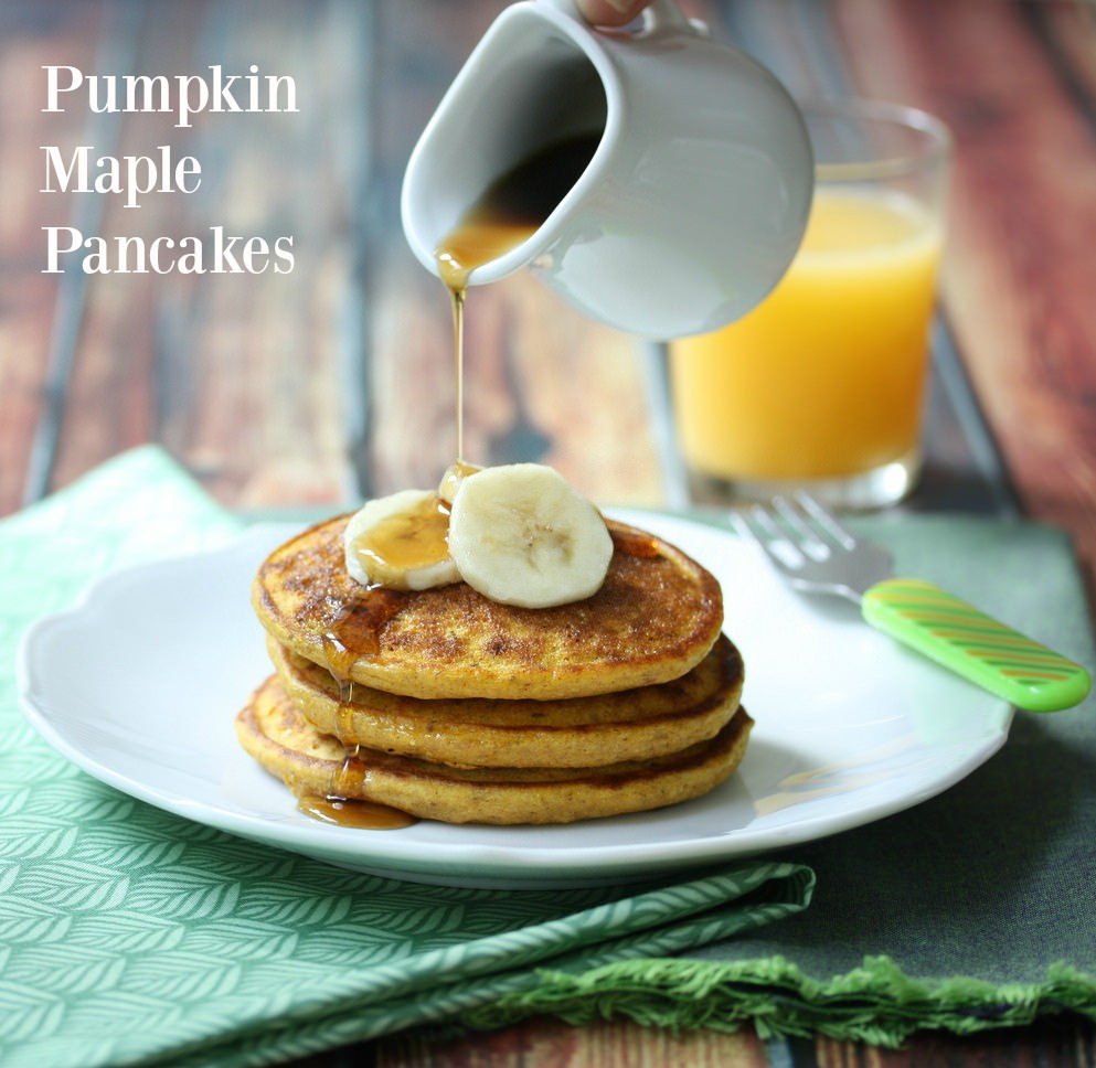 Pumpkin Maple Pancakes via LizsHealthyTable.com