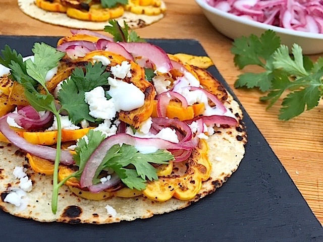 Roasted Winter Squash Tacos with Quick Pickled Onions via LizsHealthyTable.com