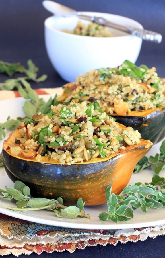 Acorn Squash Stuffed with Pumpkin Seed and Cherry Quinoa Pilaf from EA Stewart Spicy RD via LizsHealthyTable.com