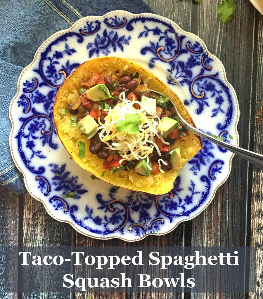 Taco-Topped Spaghetti Squash Bowls via LizsHealthyTable.com