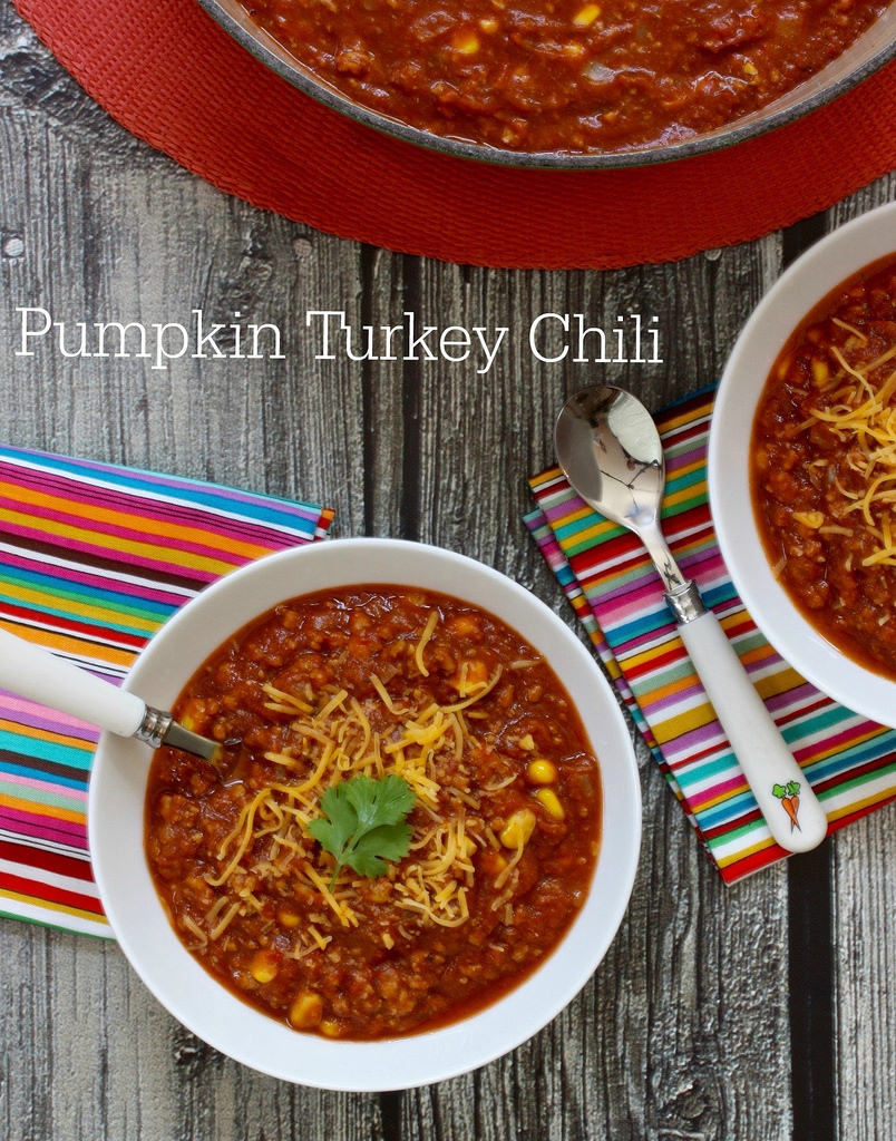 Pumpkin Turkey Chili via LizsHealthyTable.com
