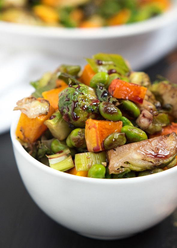 Roasted Edamame Squash and Brussels Sprouts via LizsHealthyTable.com