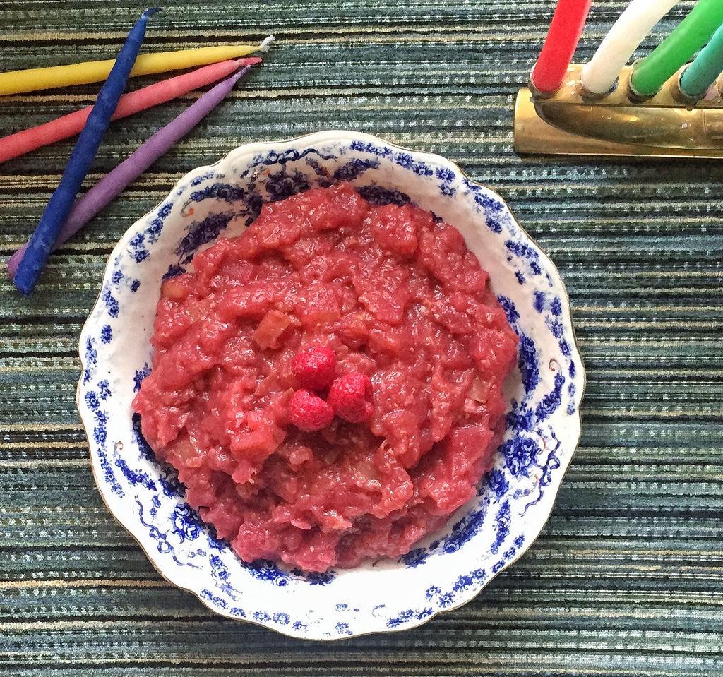 Apple, Ginger Raspberry Sauce via LizsHealthyTable.com