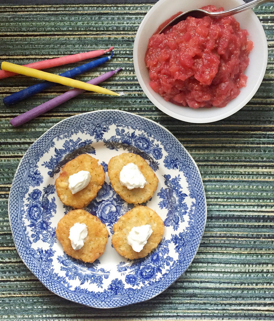 Apple, Ginger Raspberry Sauce + latkes via LizsHealthyTable.com