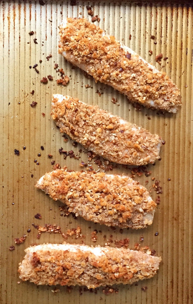 Pecan-Crusted Fish Sticks via LizsHealthyTable.com