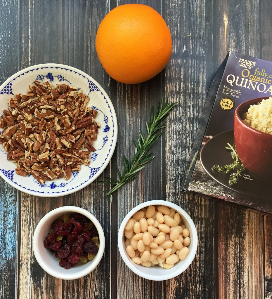 Orange Rosemary Quinoa with Beans and Pecans via LizsHealthyTable.com