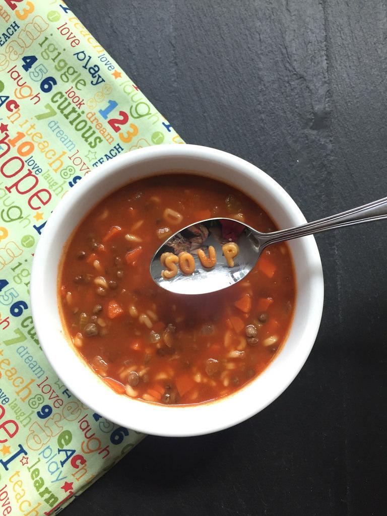 Lentil Alphabet Soup via LizsHealthyTable.com