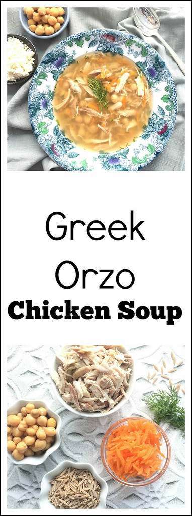 Greek Orzo Chicken Soup via LizsHealthyTable.com