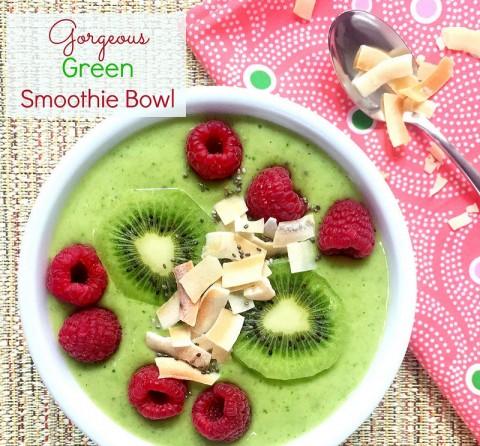 Gorgeous Green Smoothie Bowl via LizsHealthyTable.com