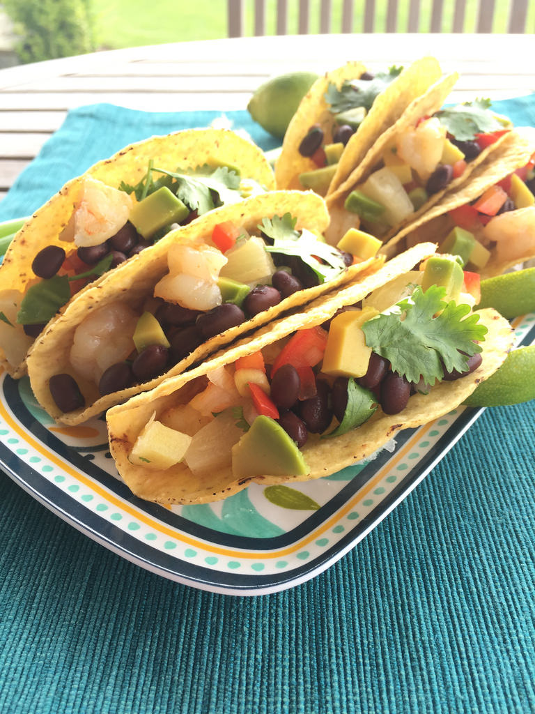 Shrimp Tacos with Black Bean Salsa via LizsHealthyTable.com