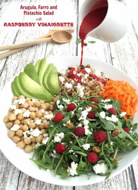 Arugula, Farro and Pistachio Salad with Raspberry Vinaigrette via LizsHealthyTable.com