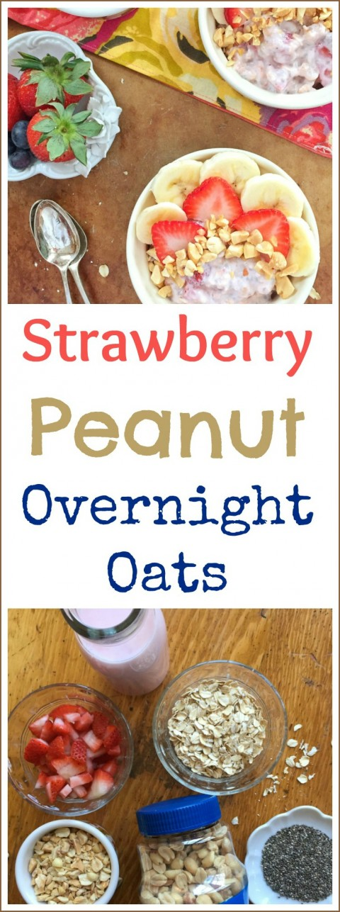 Strawberry Peanut Overnight Oats via LizsHealthyTable.com