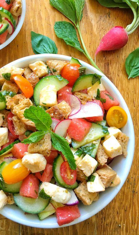 Sunny Summer Panzanella Salad via LizsHealthyTable.com